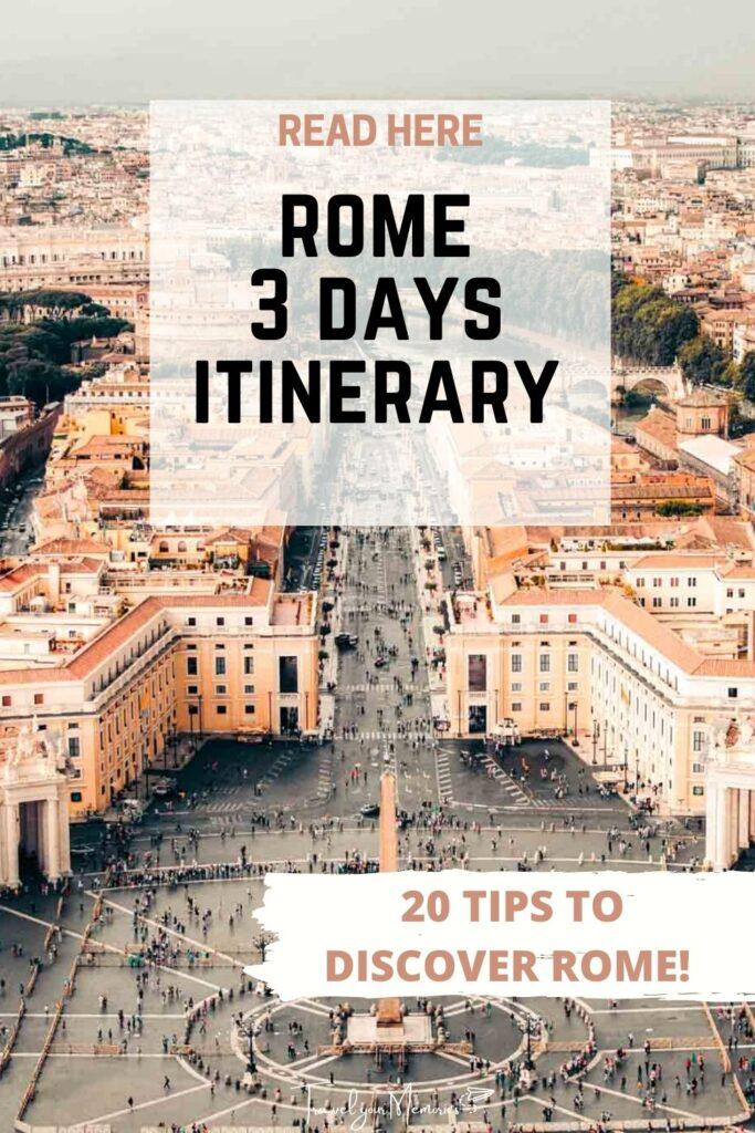 Rome 3 days itinerary pin I